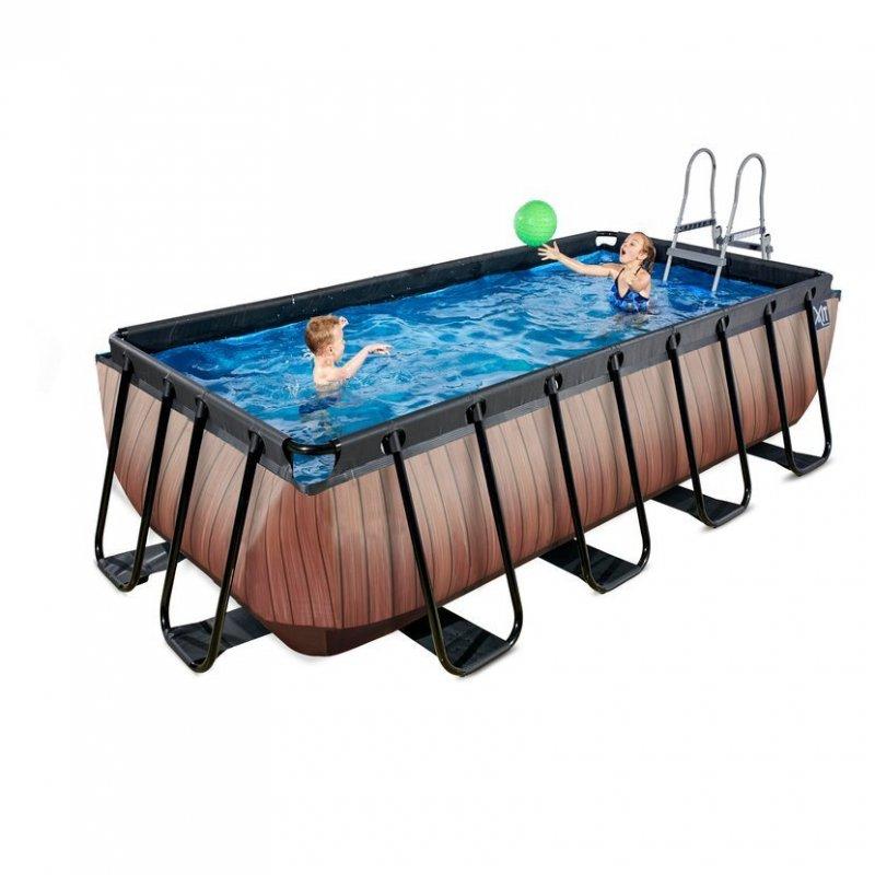 Bazén Exit 400 x 200 x 100 cm s pískovou filtrací - barva hnědá, dřevo