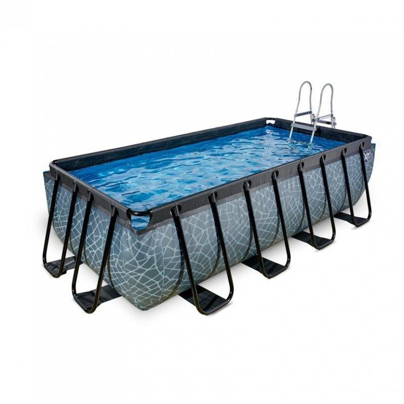 Bazén Exit 400 x 200 x 100 cm s filtrací a krytem - barva šedá, kámen