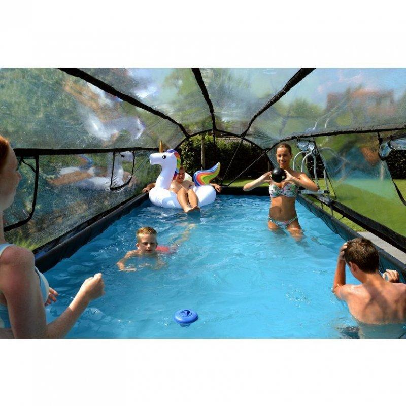 Bazén Exit 540 x 250 x 122 cm s pískovou filtrací a krytem - barva hnědá, dřevo
