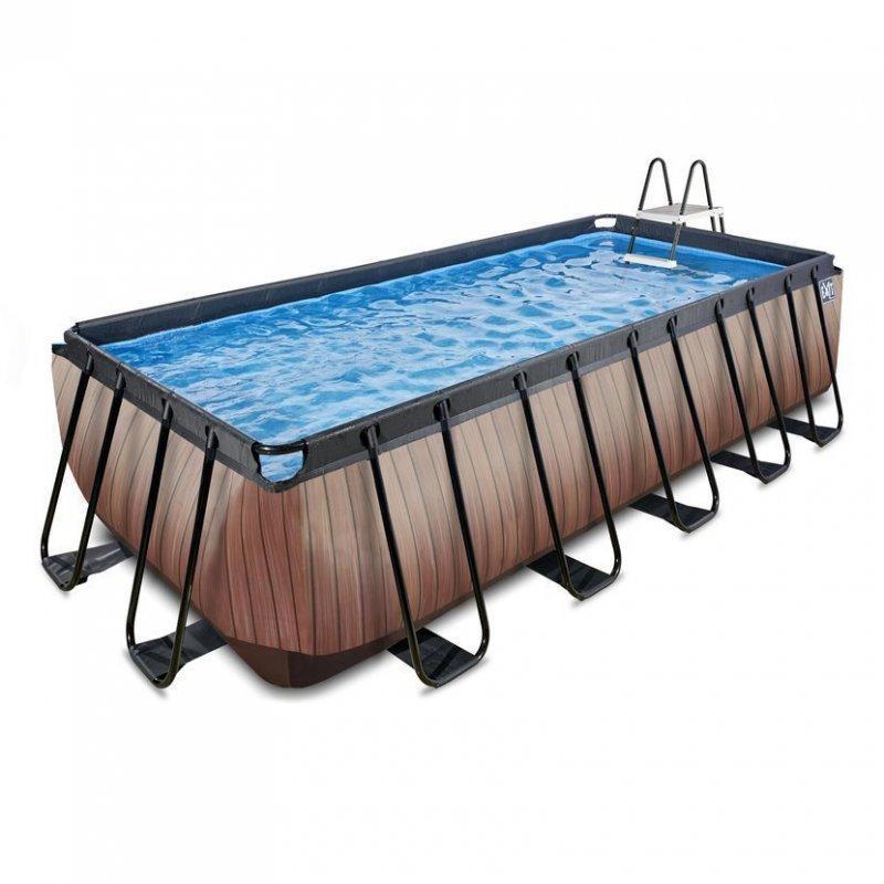 Bazén Exit 540 x 250 x 122 cm s filtrací a krytem - barva hnědá, dřevo