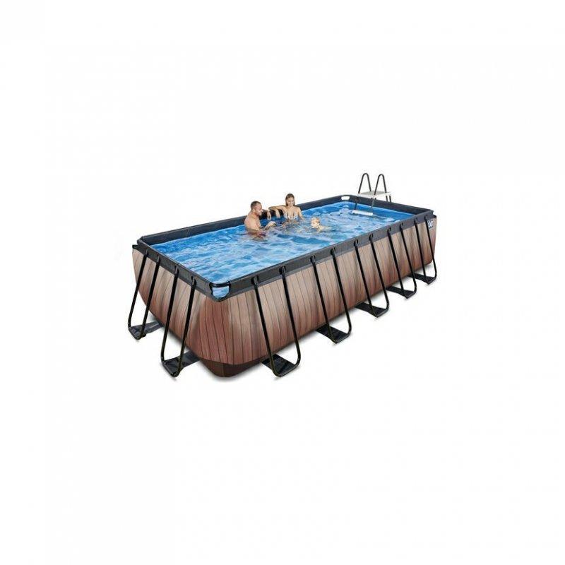 Bazén Exit 540 x 250 x 122 cm s pískovou filtrací - barva hnědá, dřevo
