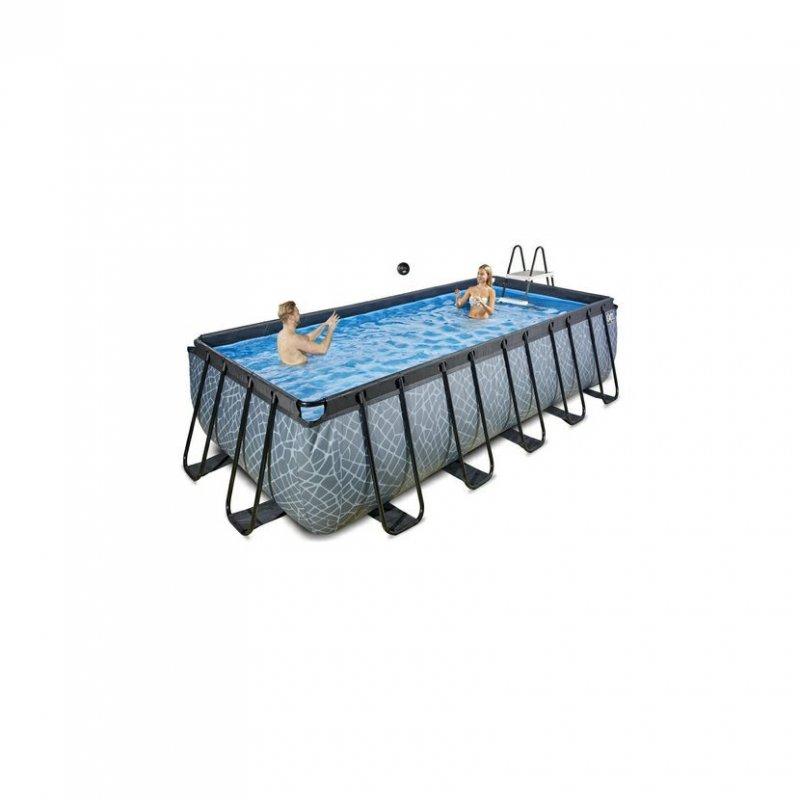 Bazén Exit 540 x 250 x 122 cm s filtrací - barva šedá, kámen