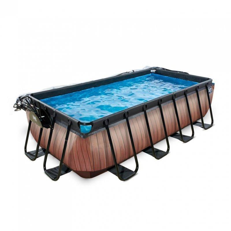 Bazén Exit 400 x 200 x 100 cm s pískovou filtrací a krytem - barva hnědá, dřevo