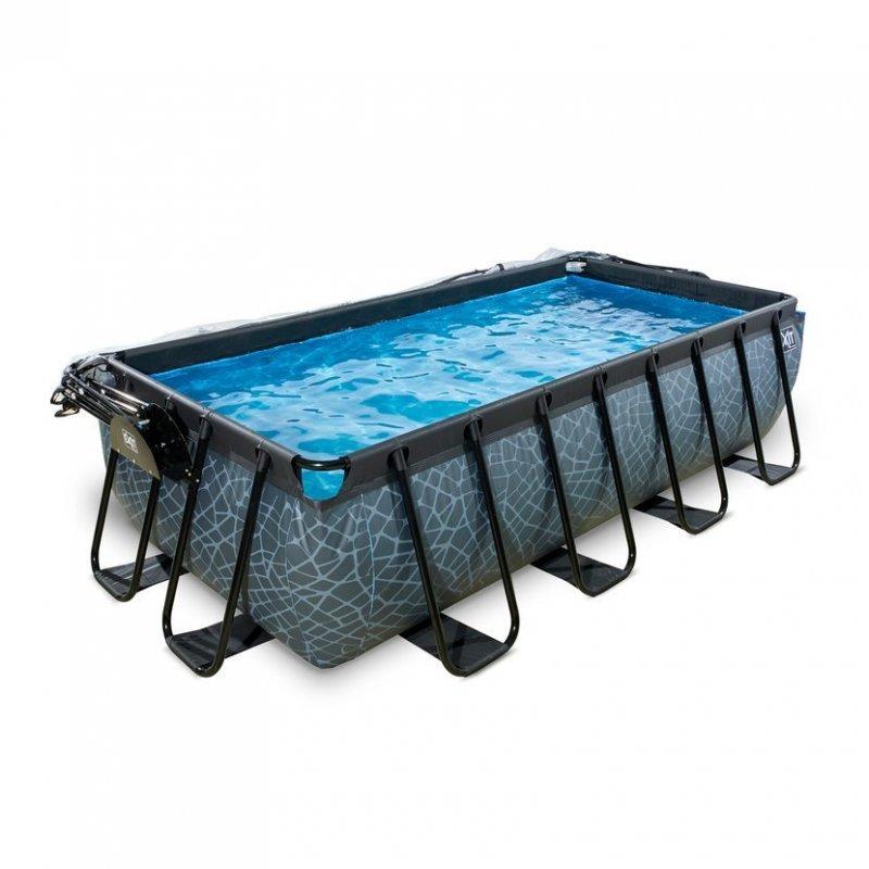 Bazén Exit 400 x 200 x 100 cm s pískovou filtrací a krytem - barva šedá, kámen