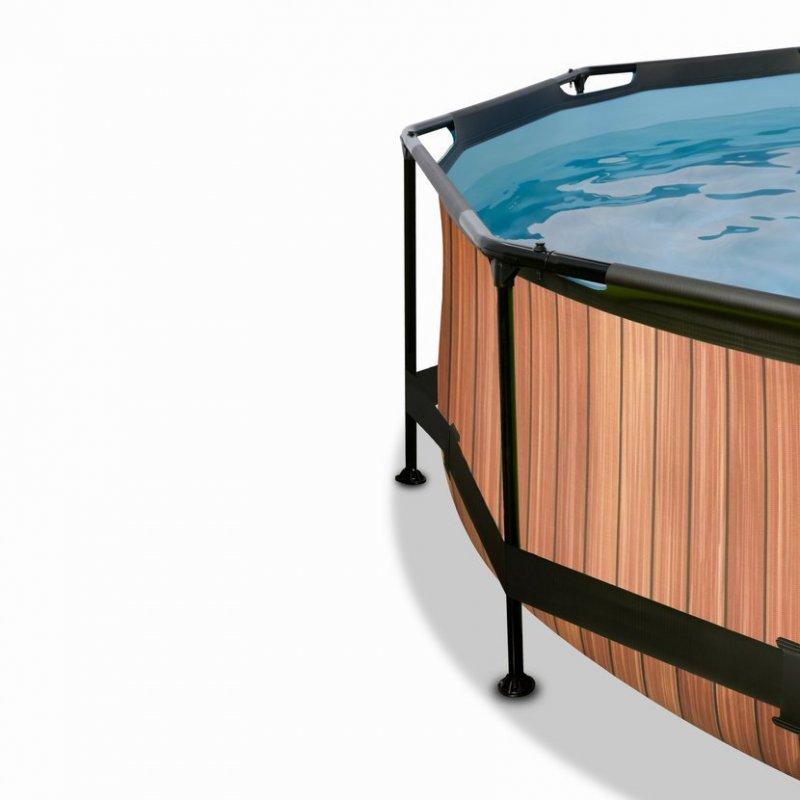 Bazén Exit ø244 x 76 cm s filtrací a krytem - barva hnědá, dřevo