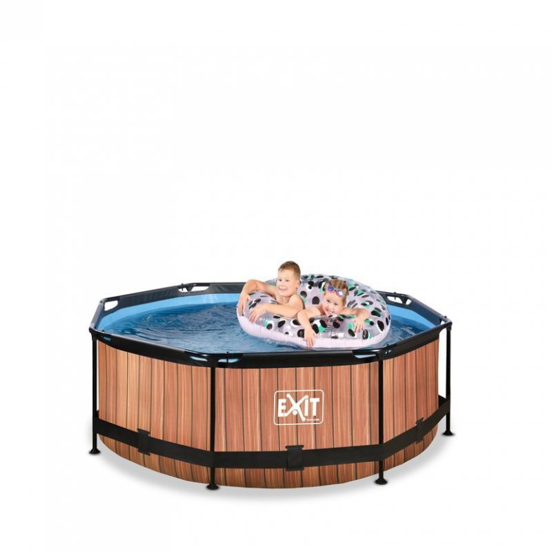 Bazén Exit ø 244 x 76 cm s filtrací - barva hnědá, dřevo