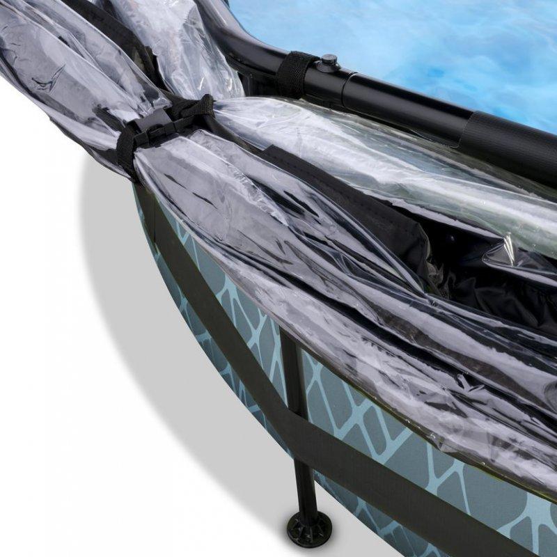 Bazén Exit ø244 x 76 cm s filtrací a krytem - barva šedá, kámen