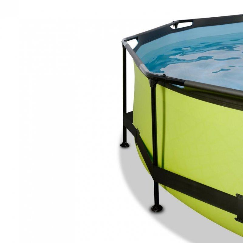 Bazén Exit ø244 x 76 cm s filtrací a krytem - barva limetková