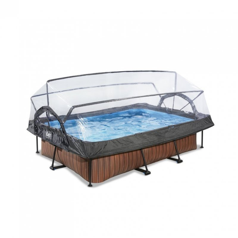 Bazén Exit 220 x 150 x 65 cm s filtrací a krytem - barva hnědá, dřevo