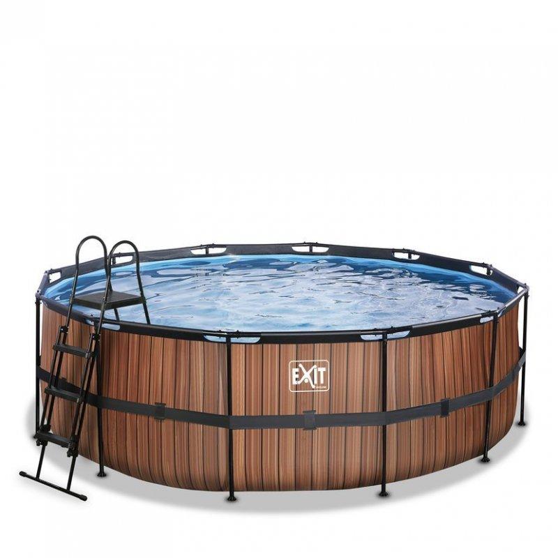Bazén Exit ø427 x 122 cm s filtrací - barva hnědá, dřevo
