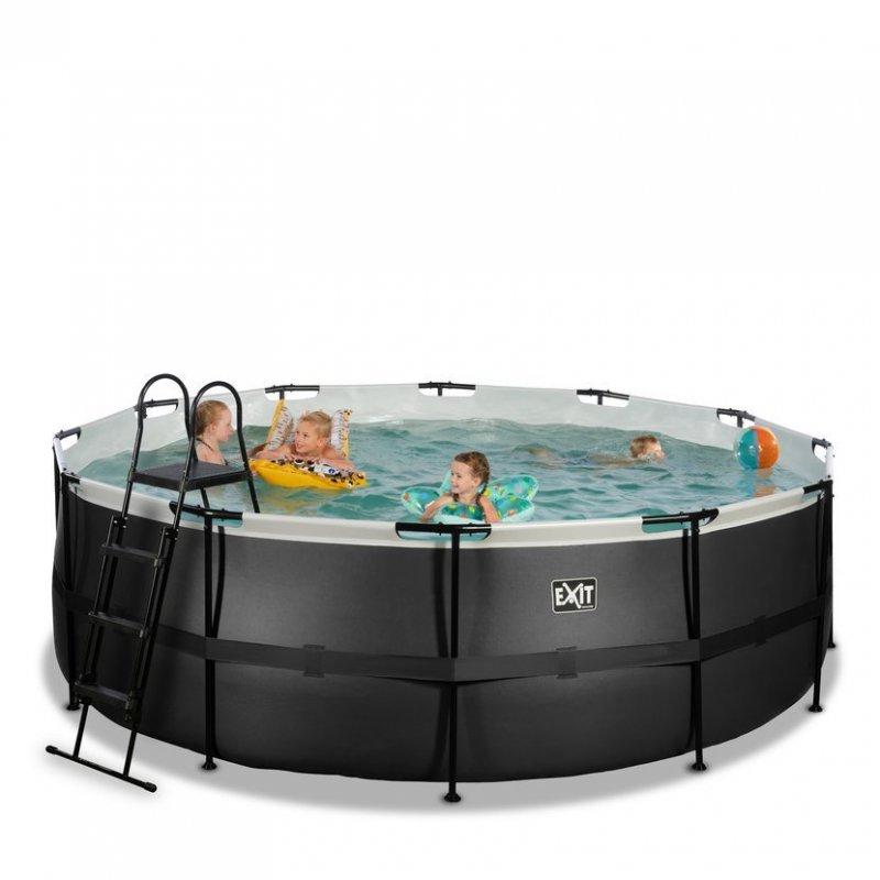 Bazén Exit ø427 x 122 cm s filtrací - barva černá, kůže