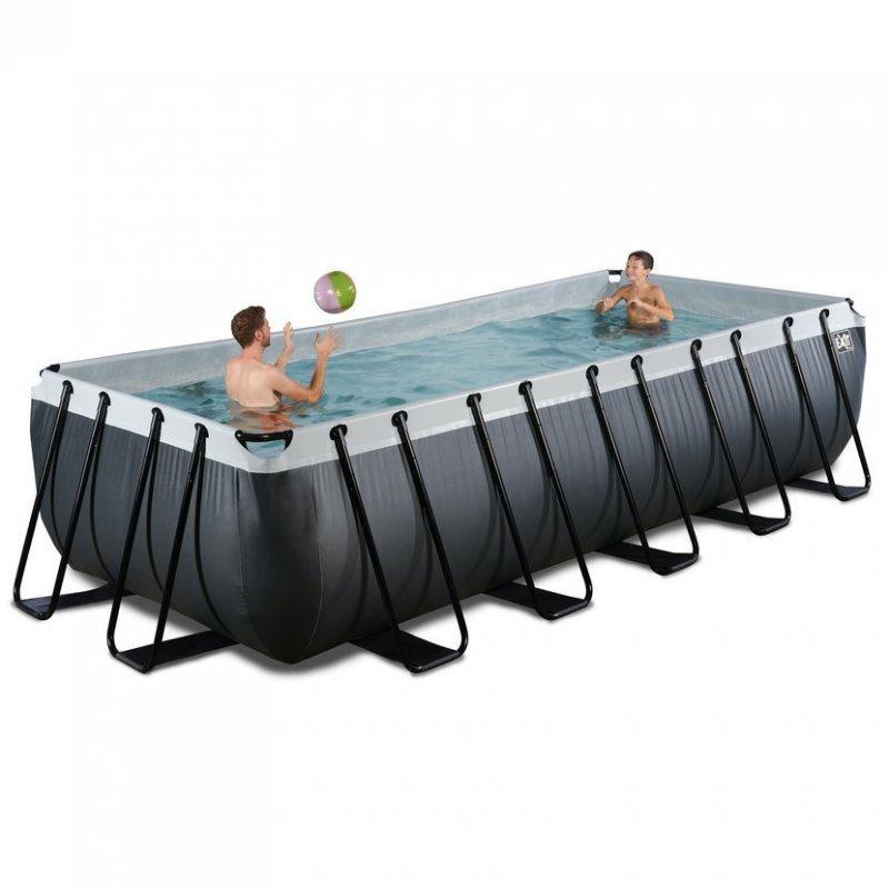 Bazén Exit 540 x 250 x 122 cm s pískovou filtrací - barva černá, kůže