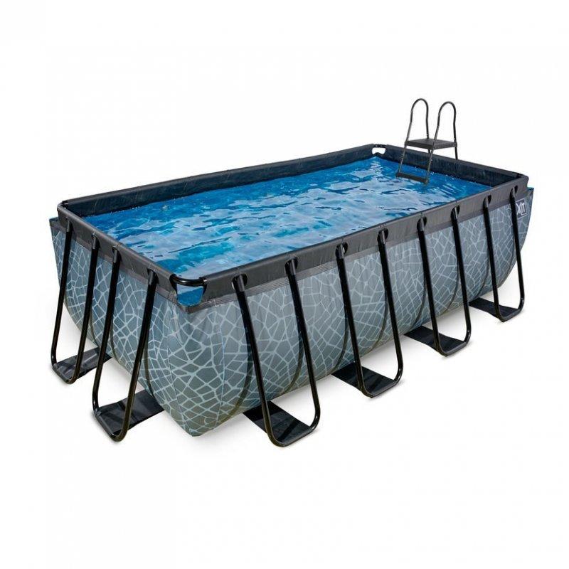 Bazén Exit 400 x 200 x 122 s pískovou filtrací - barva šedá, kámen