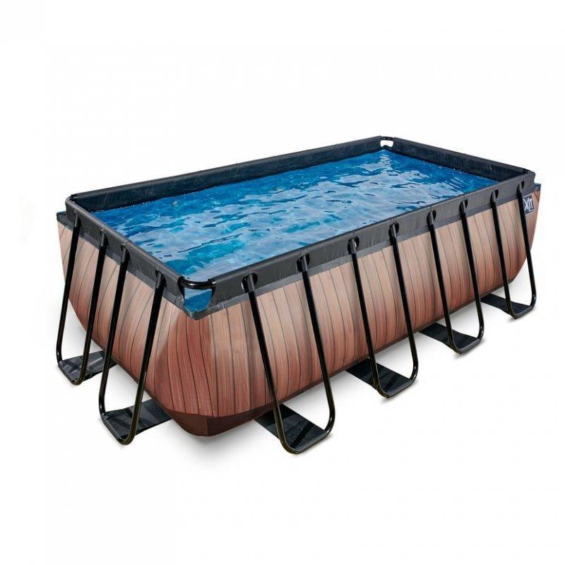 Bazén Exit 400 x 200 x 122 s filtrací - barva hnědá, dřevo