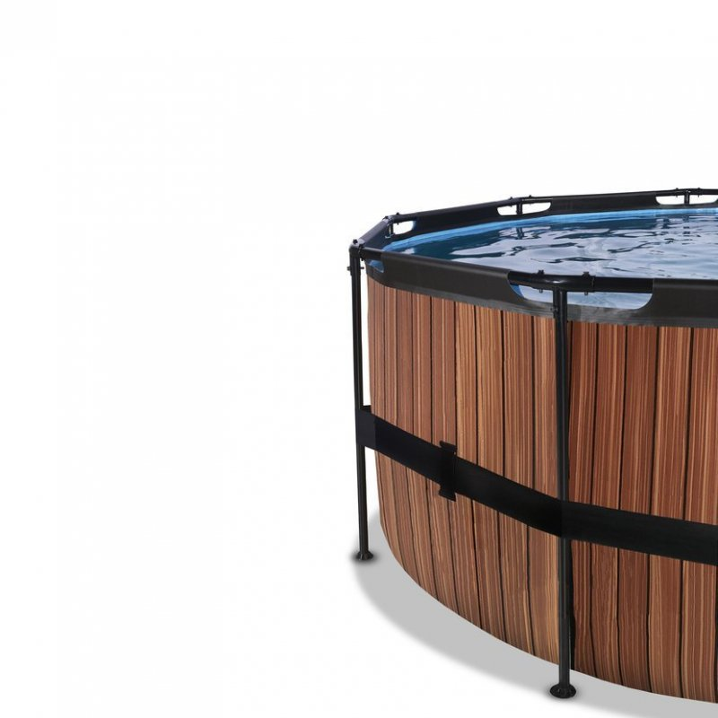 Bazén Exit ø 488 x 122 cm s filtrací - barva hnědá, dřevo