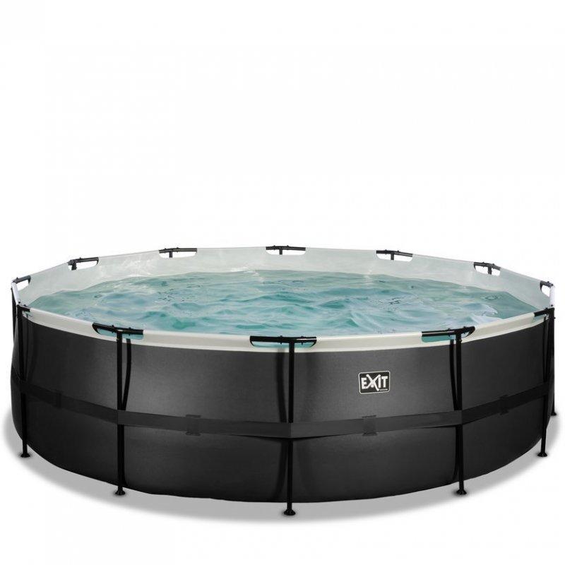 Bazén Exit ø 488 x 122 cm s filtrací - barva černá, kůže