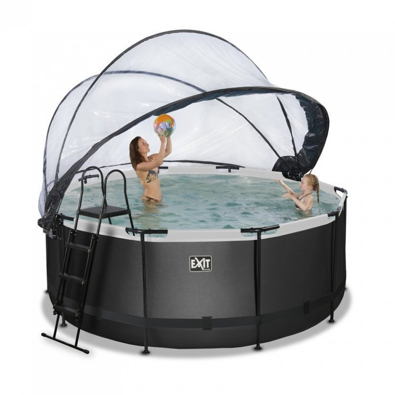Bazén Exit ø360 x 122 cm s pískovou filtrací, krytem a tepelným čerpadlem 2,5kW, barva černá - kůže