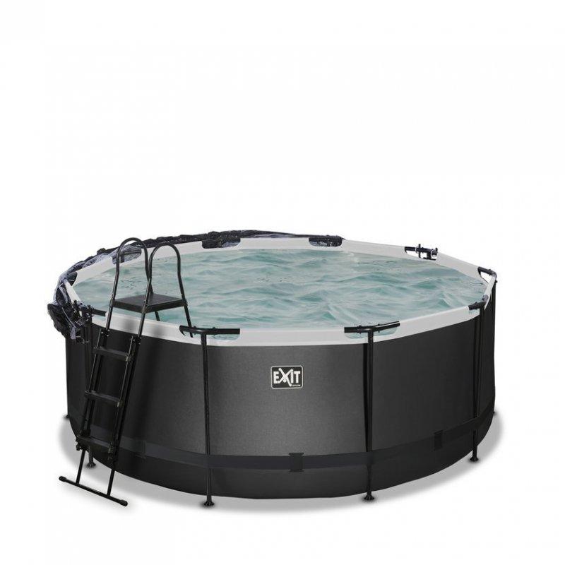 Bazén Exit ø 360 x 122 cm s pískovou filtrací a krytem - barva černá, kůže