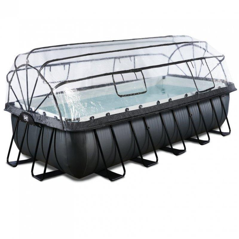 Bazén Exit 540 x 250 x 122 cm s filtrací a krytem - barva černá, kůže
