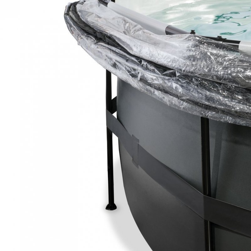 Bazén Exit ø488 x 122 cm s pískovou filtrací a krytem - barva černá, kůže