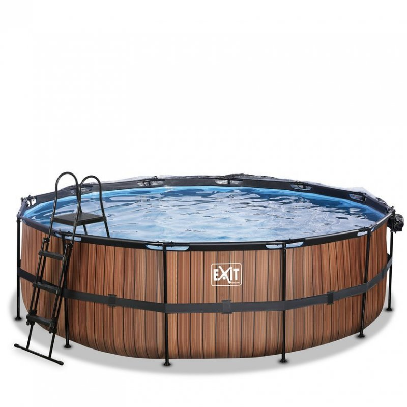Bazén Exit ø457 x 122 cm s pískovou filtrací, krytem a tepelným čerpadlem 2,5 kW, barva hnědá, dřevo