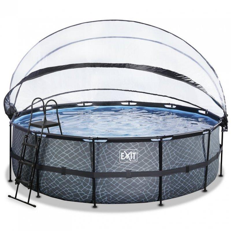 Bazén Exit ø457 x 122 cm s pískovou filtrací, krytem a tepelným čerpadlem 2,5 kW, barva šedá, kámen