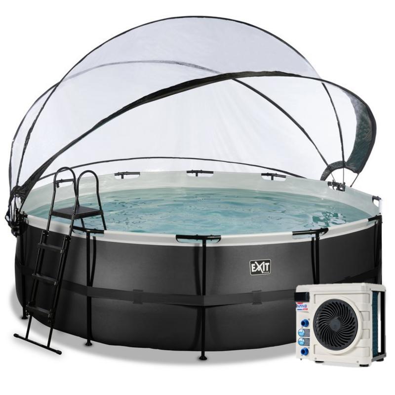 Bazén Exit ø457 x 122 cm s pískovou filtrací, krytem a tepelným čerpadlem 2,5 kW, barva černá, kůže