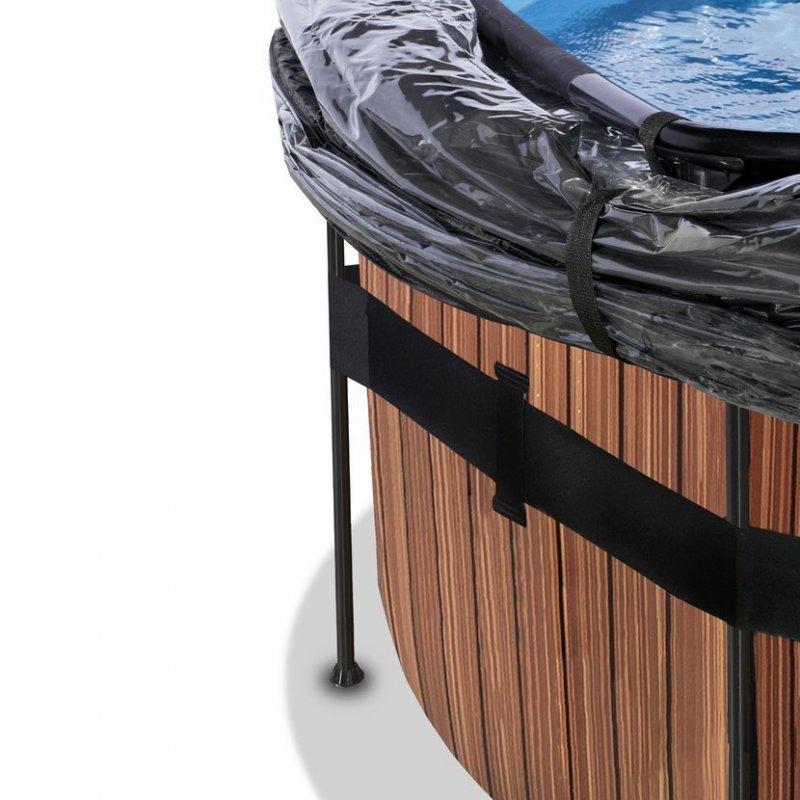Bazén Exit ø427 x 122 cm s pískovou filtrací a krytem - barva hnědá, dřevo