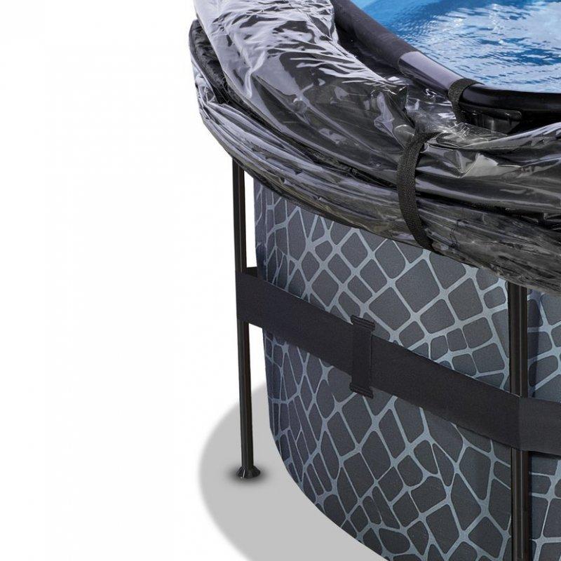 Bazén Exit ø488 x 122 cm s pískovou filtrací a krytem - barva šedá, kámen