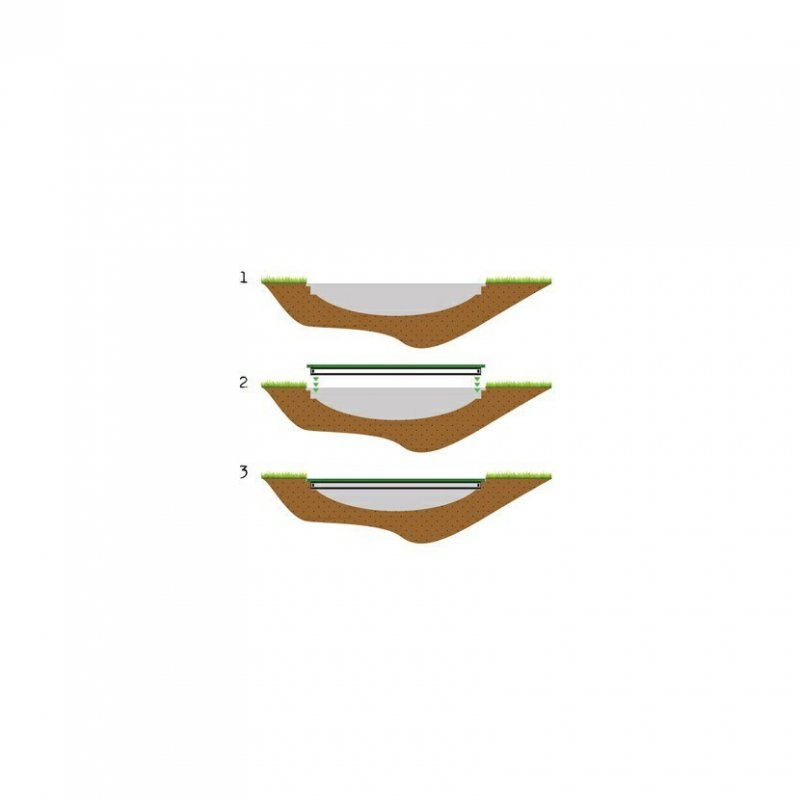 Trampolína EXIT InTerra Ground Level 427 cm s ochrannou sítí Šedá