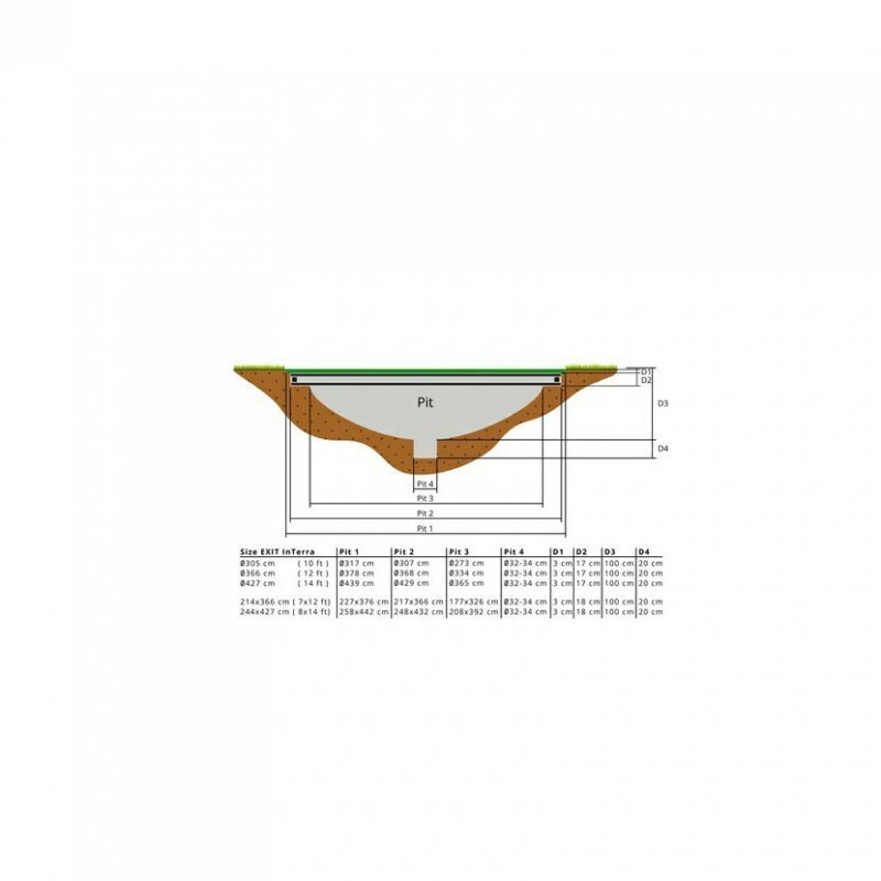 Trampolína EXIT InTerra Ground Level 214 x 366 cm s ochrannou sítí Šedá