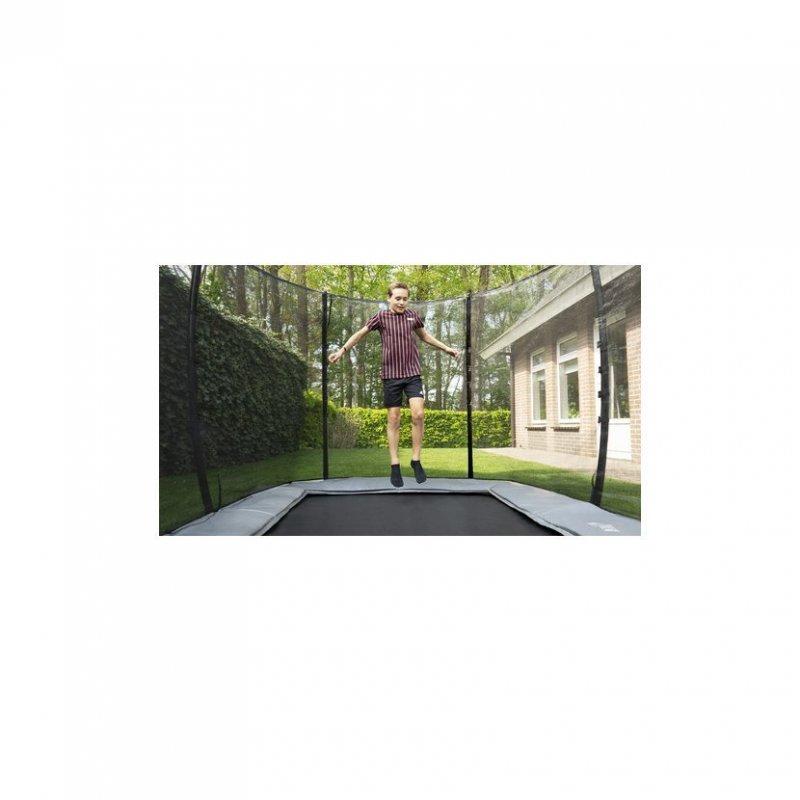 Trampolína EXIT InTerra Ground Level 214 x 366 cm s ochrannou sítí Zelená