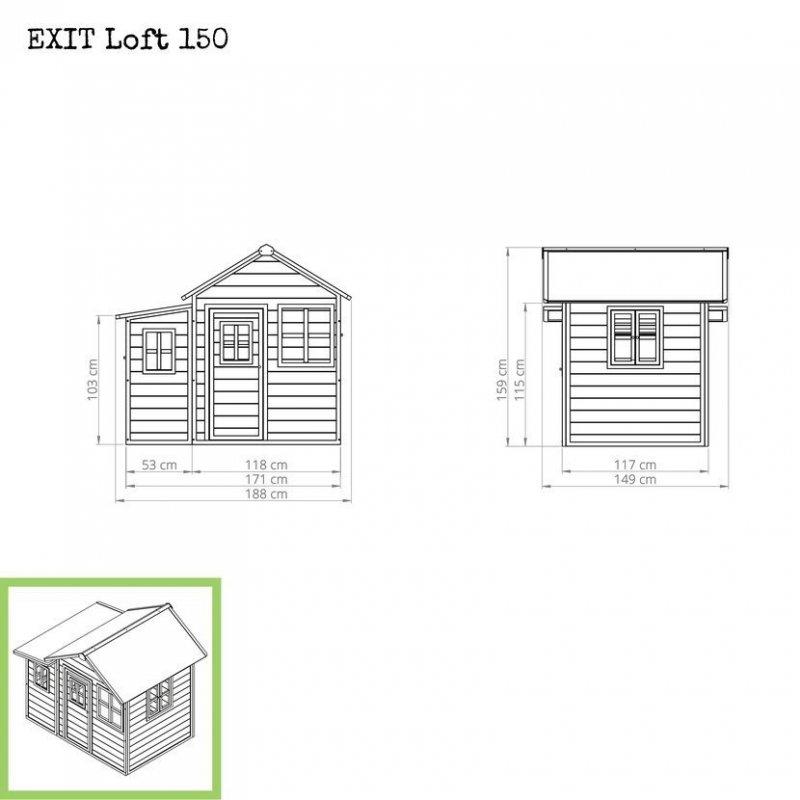 Zahradní cedrový domeček Exit Loft 150 šedý