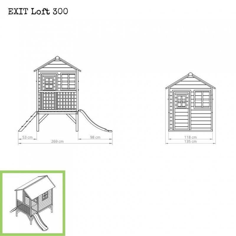 Zahradní cedrový domeček Exit Loft 300 červený