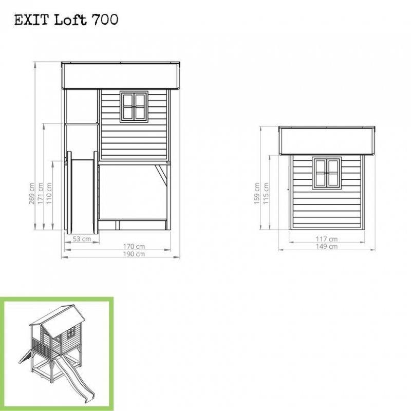 Zahradní cedrový domeček Exit Loft 700 šedý