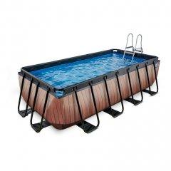 Bazén Exit 400 x 200 x 100 cm s filtrací - barva hnědá, dřevo
