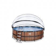 Bazén Exit ø 457 x 122 cm s filtrací a krytem - barva hnědá, dřevo