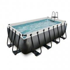 Bazén Exit 400 x 200 x 122 s filtrací - barva černá, kůže