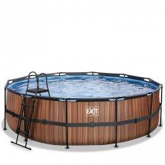 Bazén Exit ø488 x 122 cm s pískovou filtrací - barva hnědá, dřevo