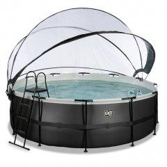 Bazén Exit ø427 x 122 cm s pískovou filtrací a krytem - barva černá, kůže