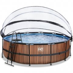 Bazén Exit ø488 x 122 cm s pískovou filtrací a krytem - barva hnědá, dřevo