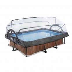 Bazén Exit 300 x 200 x 65 cm s filtrací a krytem - barva hnědá, dřevo