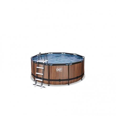 Bazén Exit ø 360 x 122 cm s filtrací - barva hnědá, dřevo