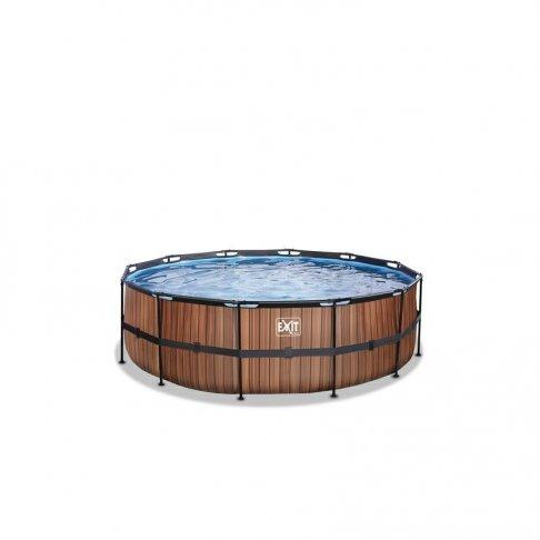 Bazén Exit ø 457 x 122 cm s filtrací - barva hnědá, dřevo