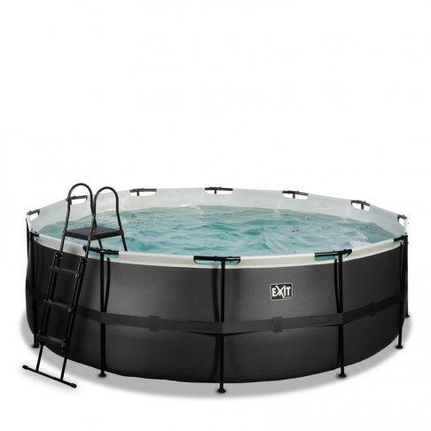 Bazén Exit ø427 x 122 cm s pískovou filtrací - barva černá, kůže