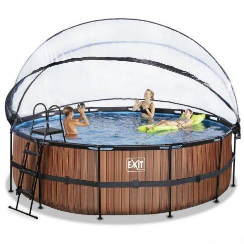 Bazén Exit ø457 x 122 cm s pískovou filtrací a krytem - barva hnědá, dřevo