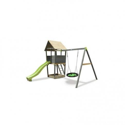Dětské hřiště Exit Aksent Playtower + houpačkové rameno hnízdo