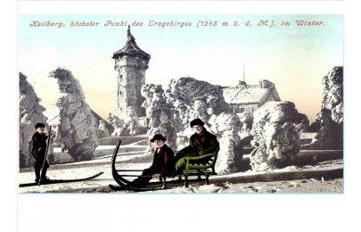 Zima v Krušných horách na starých pohlednicích