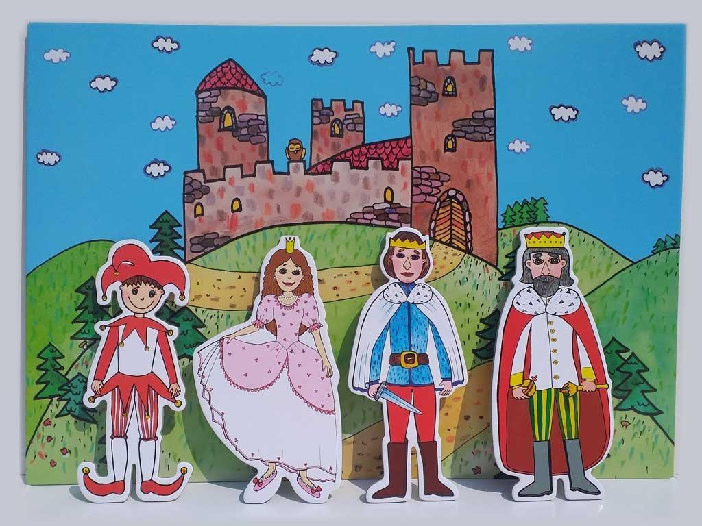 Gašparko, princezná, princ, kráľ - bábky, scéna