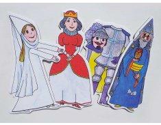 Kráľovná, čarodejník, biela pani, rytier - bábky